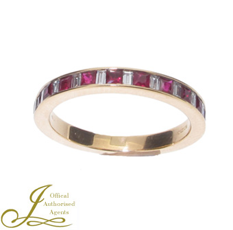 18ct Yellow Gold Ruby and Diamond Half Eternity Ring