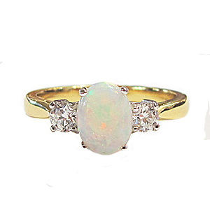18ct Yellow Gold 0.72ct Opal + 0.28ct Diamond Trilogy Ring