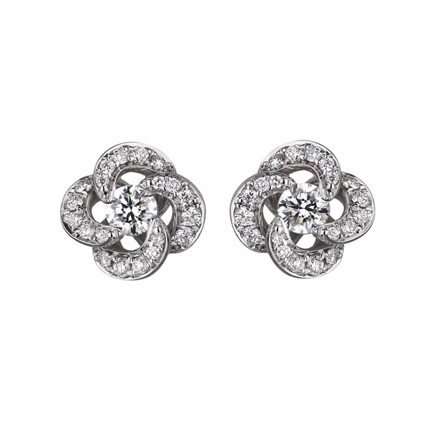 Shaun Leane 18ct White Gold + 0.10ct Diamond + Pave Entwined Petal Flower Earrings