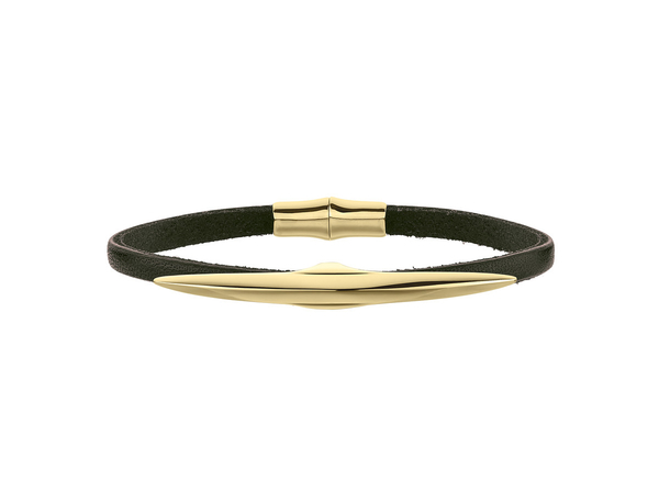 Shaun Leane Yellow Gold Vermeil Arc Single Leather Wrap Bracelet