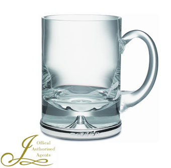 Sterling Silver and Krosno Glass Tankard