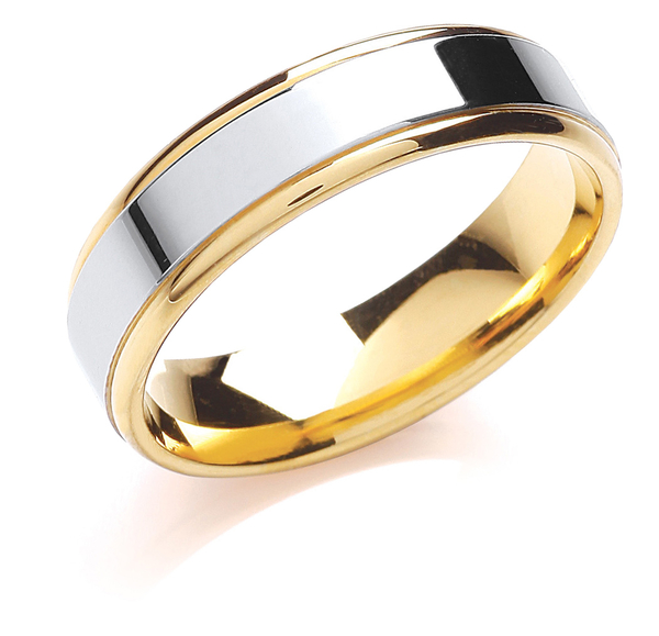 18ct two colour gold wedding ring