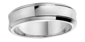 Platinum bevelled top court, lined edge wedding ring