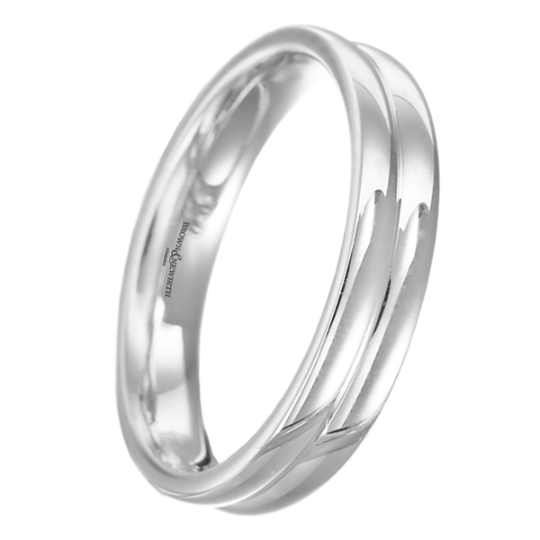 Platinum two row court shaped wedding ring