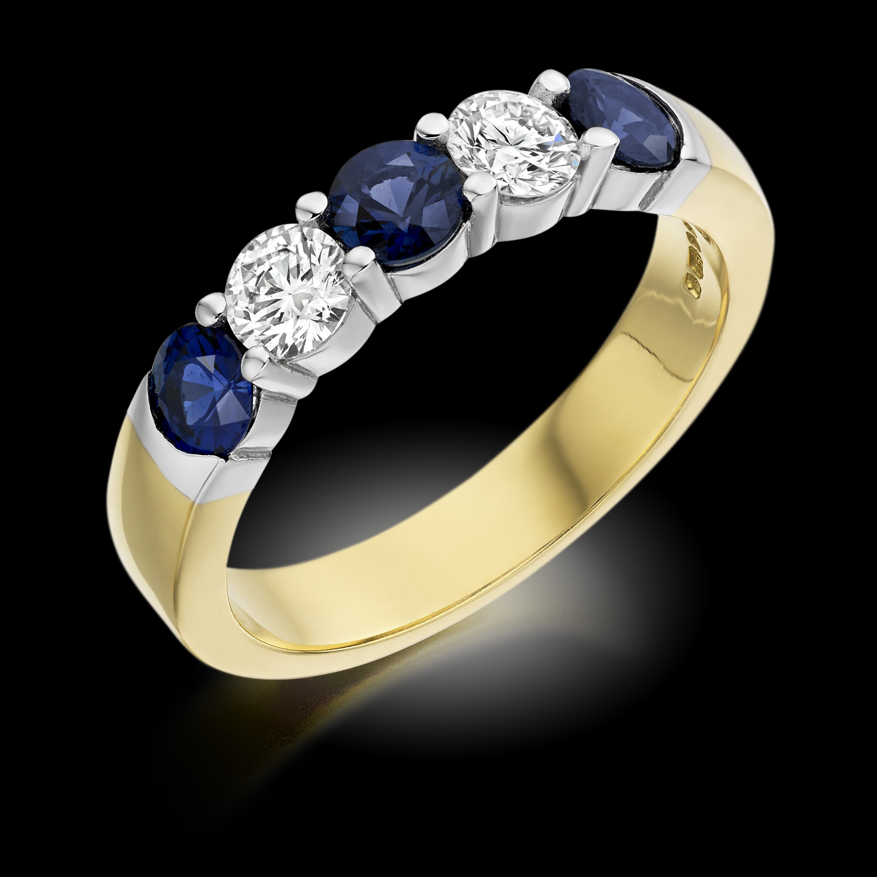 Yellow gold five stone ring