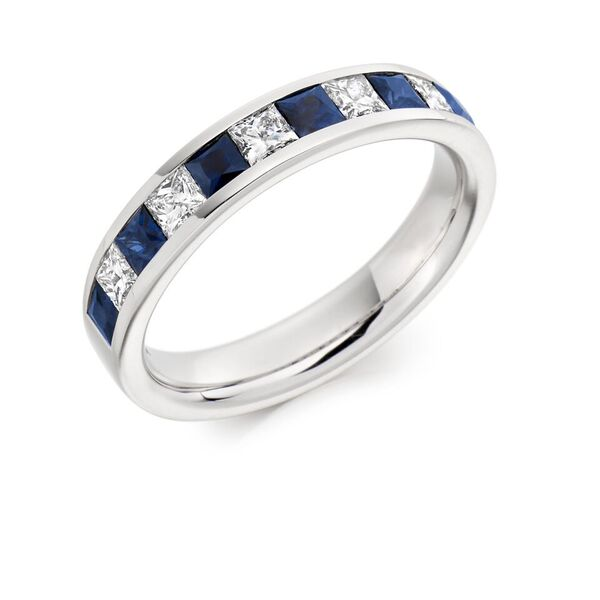 Platinum Sapphire and Diamond channel set half eternity ring