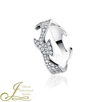 Georg Jensen Fusion 18ct White Gold Pave Centre Ring
