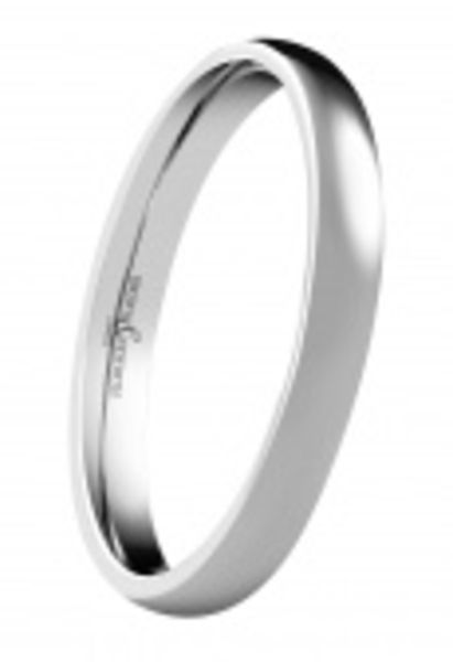 18ct White gold 2mm wide court shaped polished wedding ring