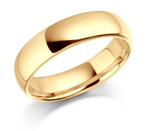 18ct yellow gold 5mm light court shaped wedding band
