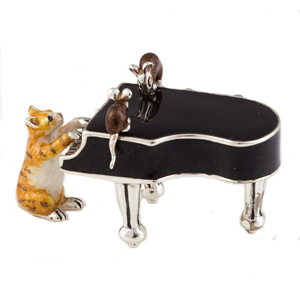 Sterling Silver and Enamel Cat playing a grand piano