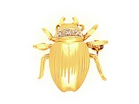 18ct Yellow Gold + Diamond Stag Beetle Brooch