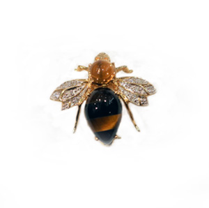 18ct Yellow Gold Diamond, Onyx, Tiger's Eye + Citrine Bumble Bee Brooch