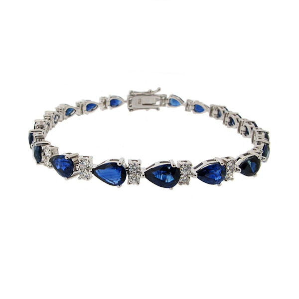 18ct White Gold 9.35ct Sapphire + 1.25ct Diamond Line Bracelet