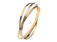 9ct Yellow, White + Rose Gold Russian Style Bangle