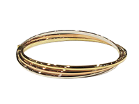 9ct Yellow, White & Rose Gold Hinged Bangle