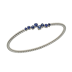 18ct White Gold Sapphire Bangle
