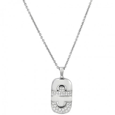 Bulgari Parentesi 18ct white gold diamonds pave set pendant and chain