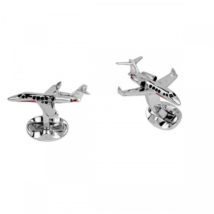 Sterling Silver and Red Enamel Jet cufflinks