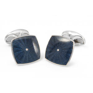 Deakin & Francis Silver + Bentley Blue Enamel Cufflinks