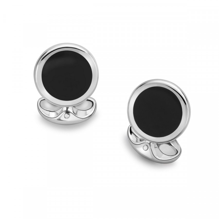 Sterling Silver circular Onyx set cufflinks