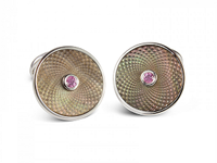 Deakin & Francis Sterling Silver Grey Mother Of Pearl + Pink Sapphire Circular Cufflinks