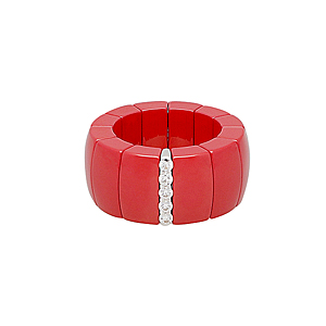 Roberto Demeglio 'Domino' red ceramic ring