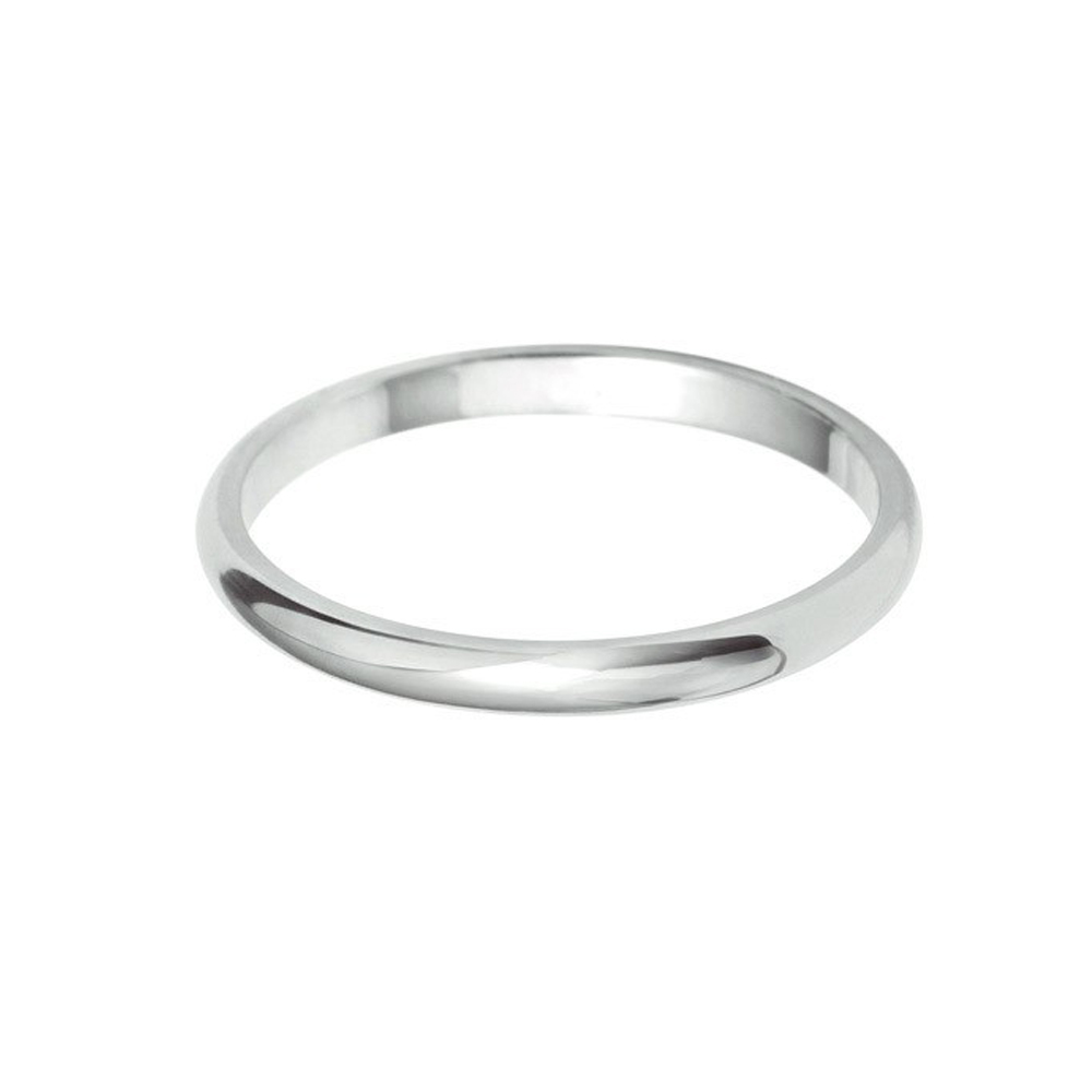 2mm D-Shaped Wedding Band