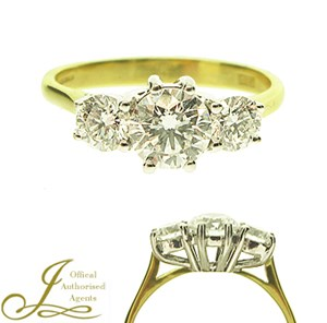 18ct Yellow Gold 1.07ct Diamond Trilogy Ring
