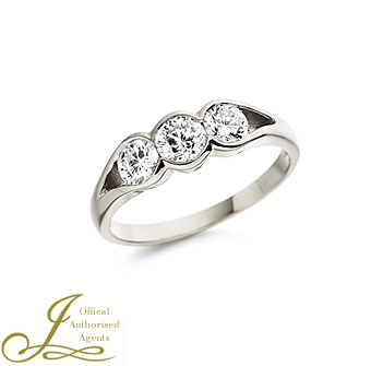 Platinum 0.87ct Three Diamond Ring