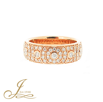 18ct Rose gold diamond dress ring