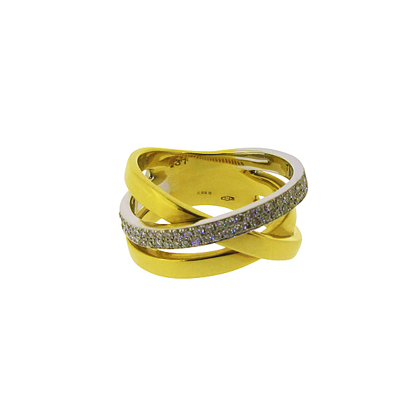 18ct Yellow + White Gold Crossover Diamond Ring