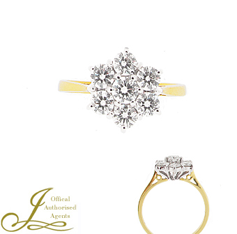 18ct Yellow + White 1.00ct Diamond Cluster Ring