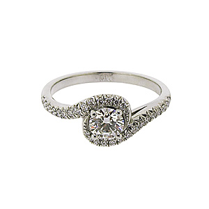 Platinum 0.64ct Diamond Swirl Halo Ring