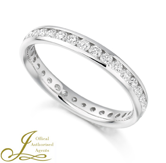 Platinum 0.88ct Diamond Full Eternity Ring