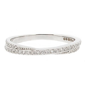 18ct White Gold 0.22ct Diamond Twist Ring