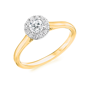 18ct Yellow Gold 0.38ct Diamond Halo Ring