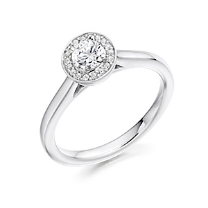 Platinum 0.36ct Diamond Halo Ring