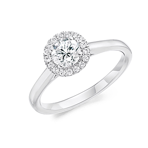 Platinum 0.70ct Diamond Halo Ring