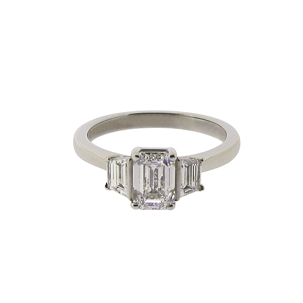 Platinum 1.34ct Three Diamond Ring