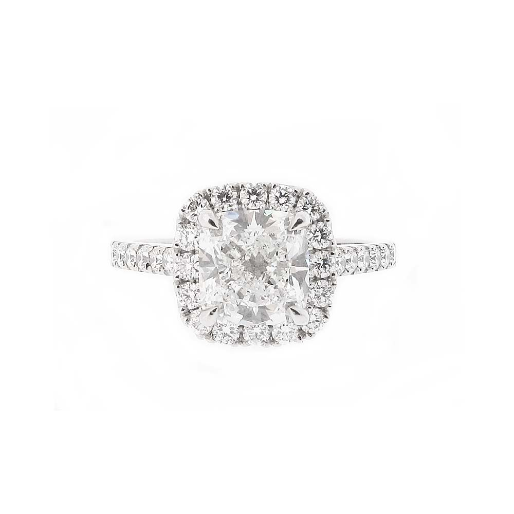 Platinum Cushion Cut Diamond Cluster
