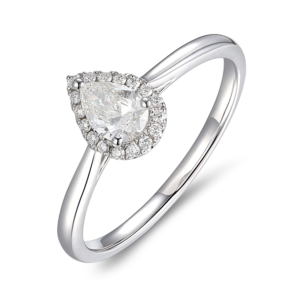 Platinum 0.39ct Pear Cut Diamond Halo Ring