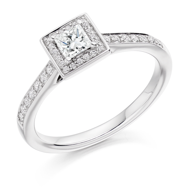 Platinum 0.53ct Diamond Princess Cut Halo Ring
