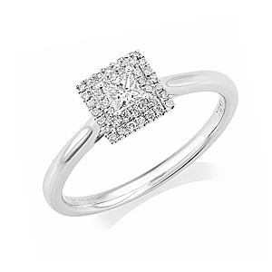 Platinum Princess 0.28ct Diamond Halo Ring