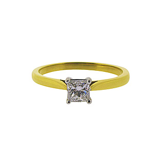 18ct Yellow + White Gold Solitaire Diamond Ring