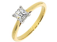 18ct Yellow Gold 0.51ct Princess Cut Diamond Solitaire Ring