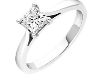 Platinum 0.50ct Princess Cut Diamond Ring