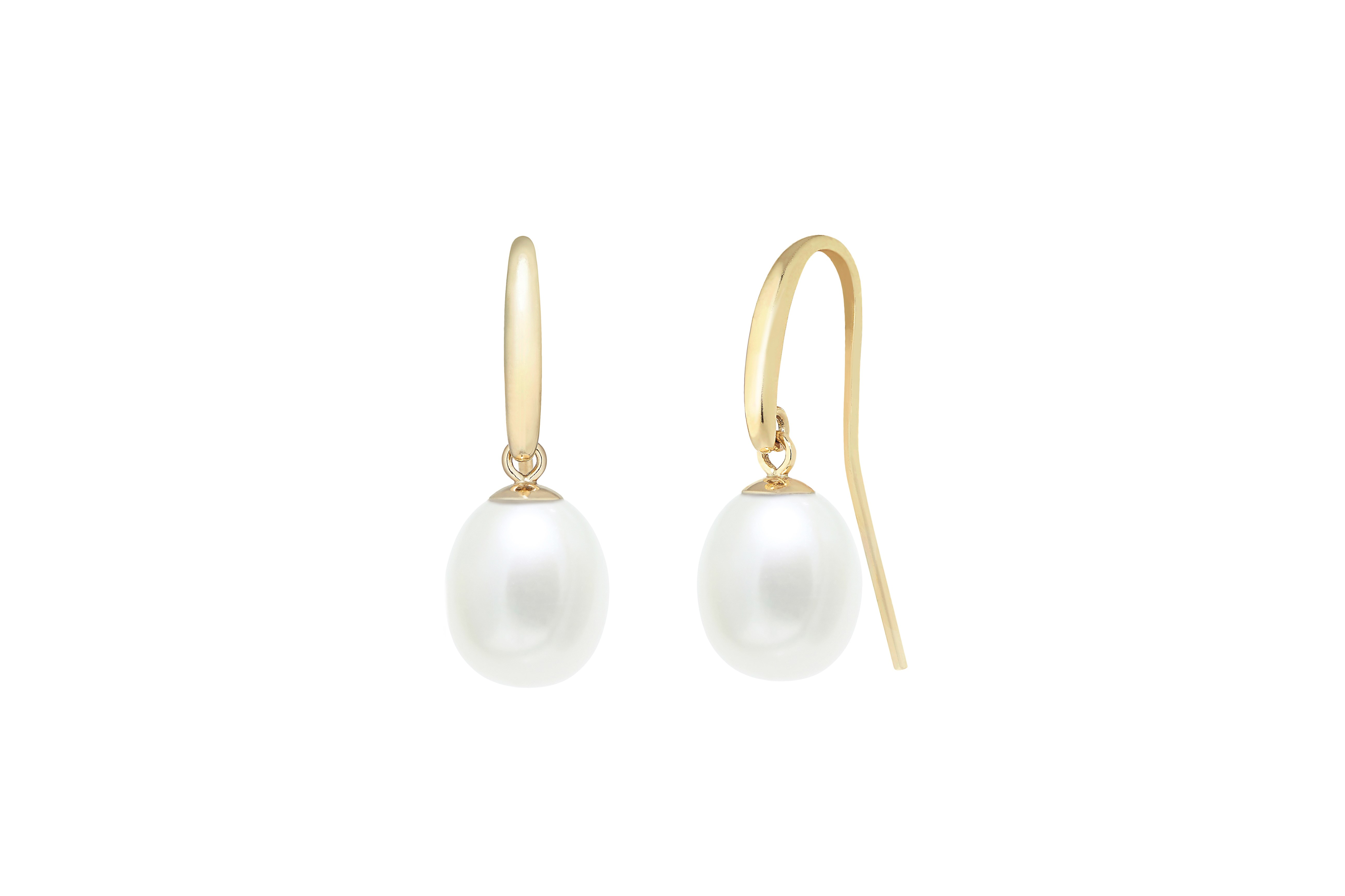 9ct yellow gold white pearl earring