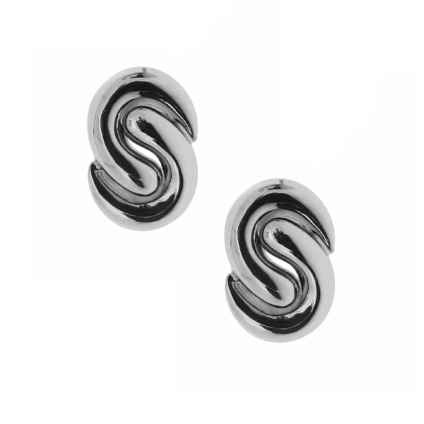 18ct White Gold Interlocking 'S' Earrings