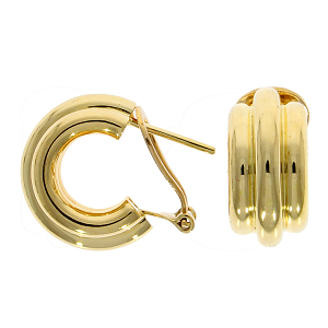 18ct Yellow Gold 3 Row Hoop Earrings