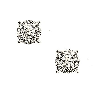 18ct White Gold 0.56ct Diamond Cluster Earrings